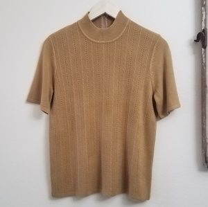 Vintage mock turtleneck short sleeve knit S